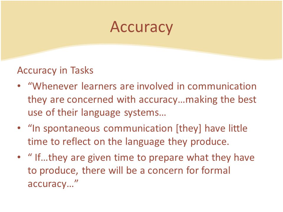 Accuracy Accuracy in Tasks