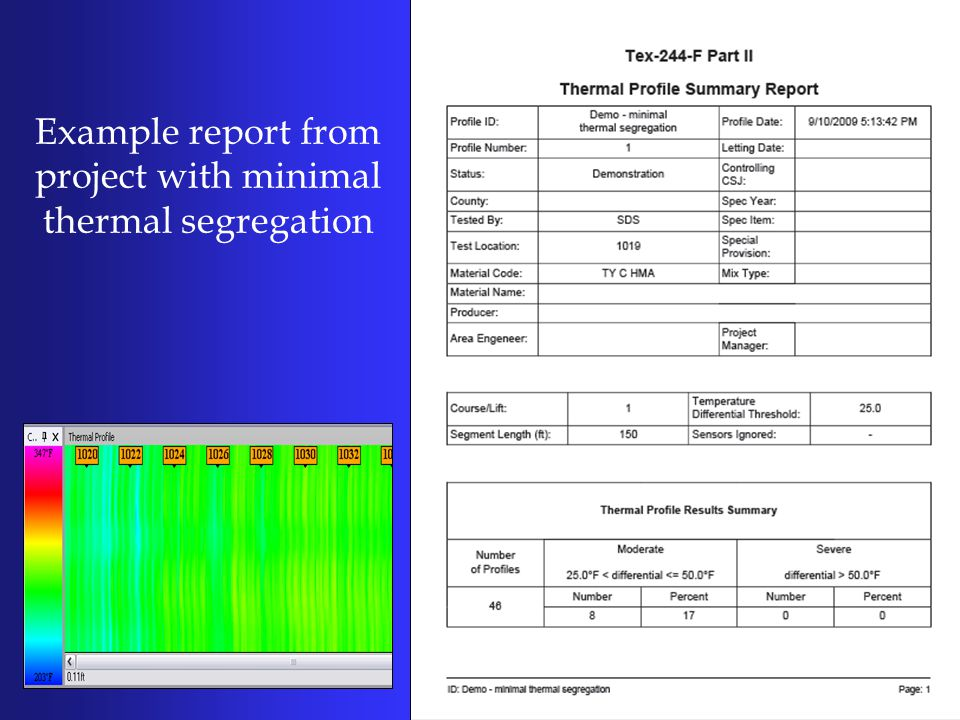 Example report from project with minimal thermal segregation