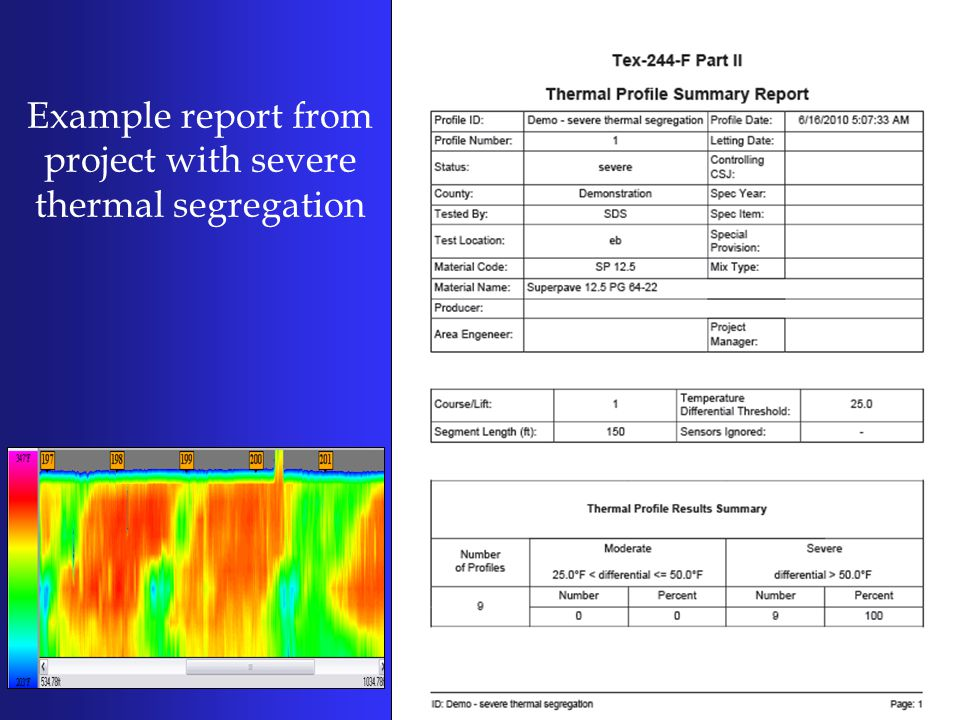 Example report from project with severe thermal segregation