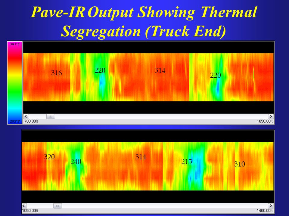 Pave-IR Output Showing Thermal Segregation (Truck End)