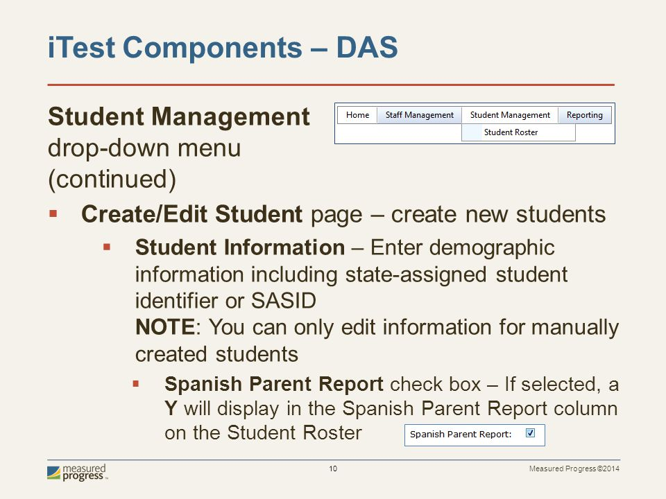 iTest Components – DAS Student Management drop-down menu (continued)
