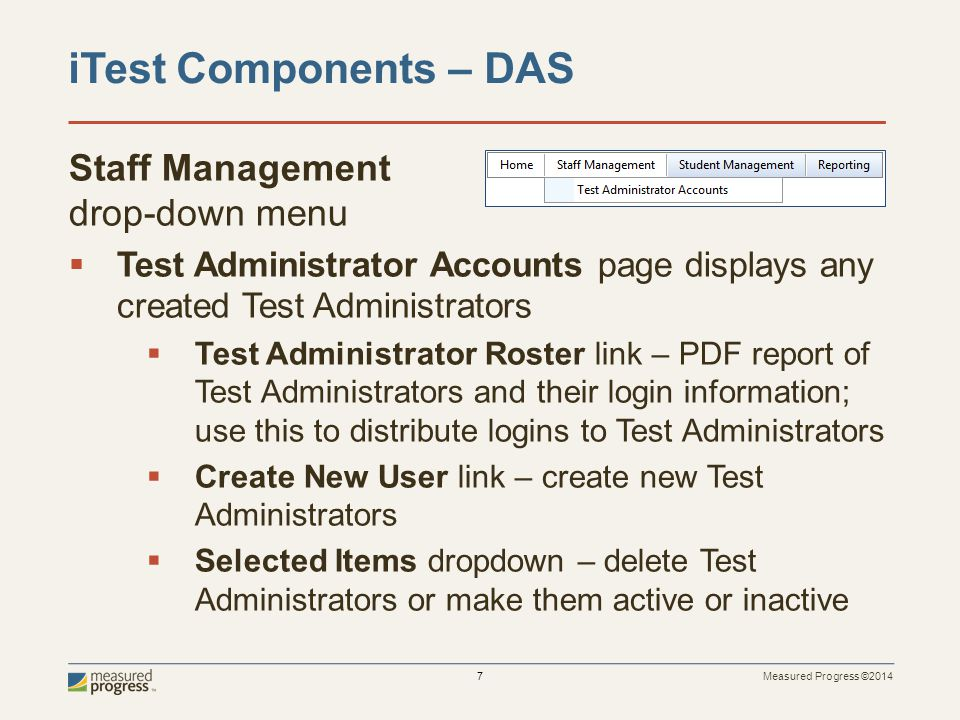 iTest Components – DAS Staff Management drop-down menu