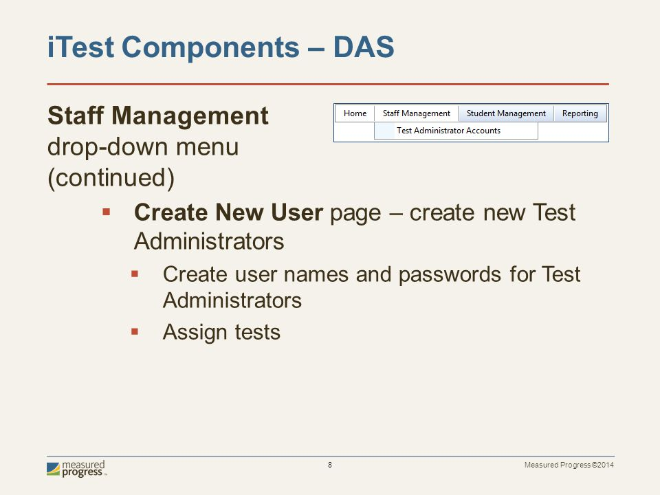 iTest Components – DAS Staff Management drop-down menu (continued)