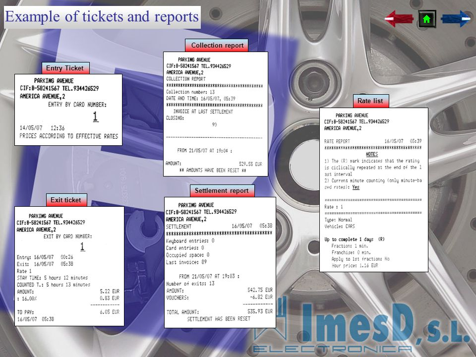 Example of tickets and reports