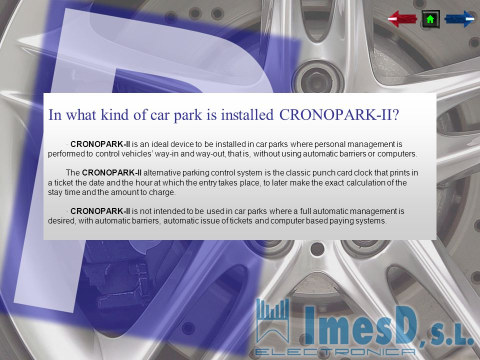 In what kind of car park is installed CRONOPARK-II
