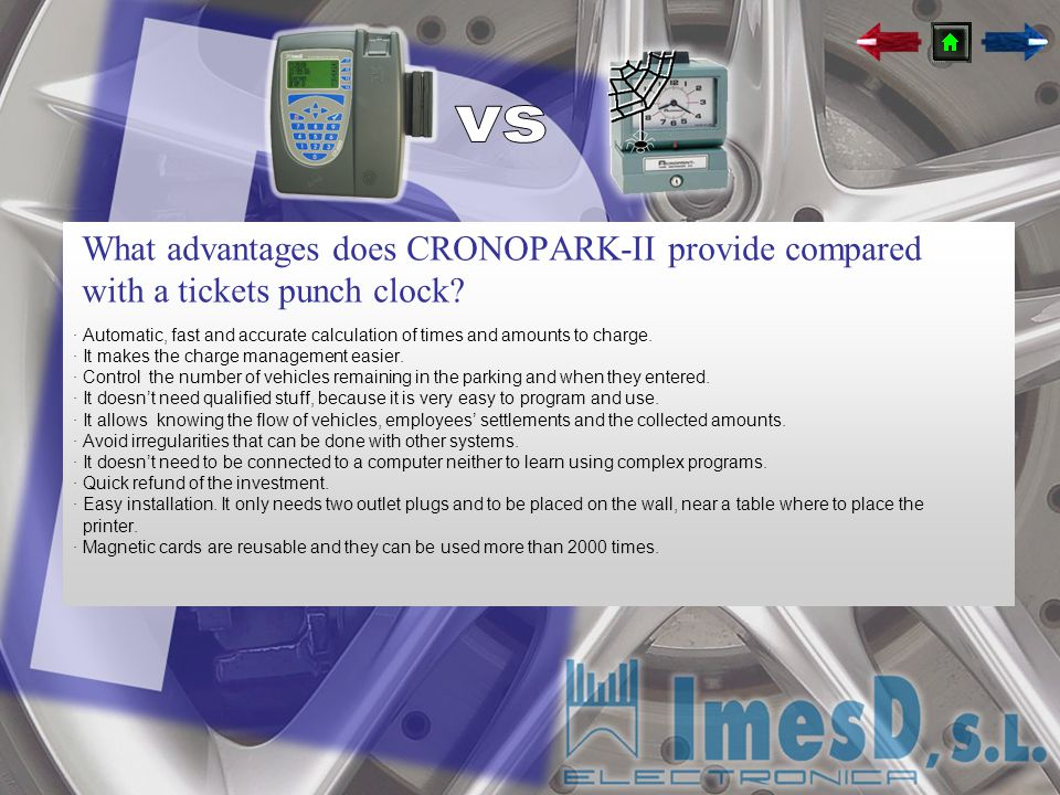vs What advantages does CRONOPARK-II provide compared with a tickets punch clock
