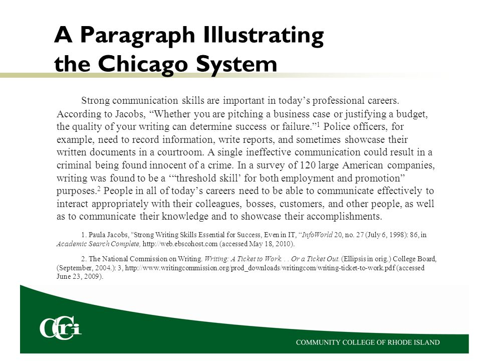A Paragraph Illustrating the Chicago System