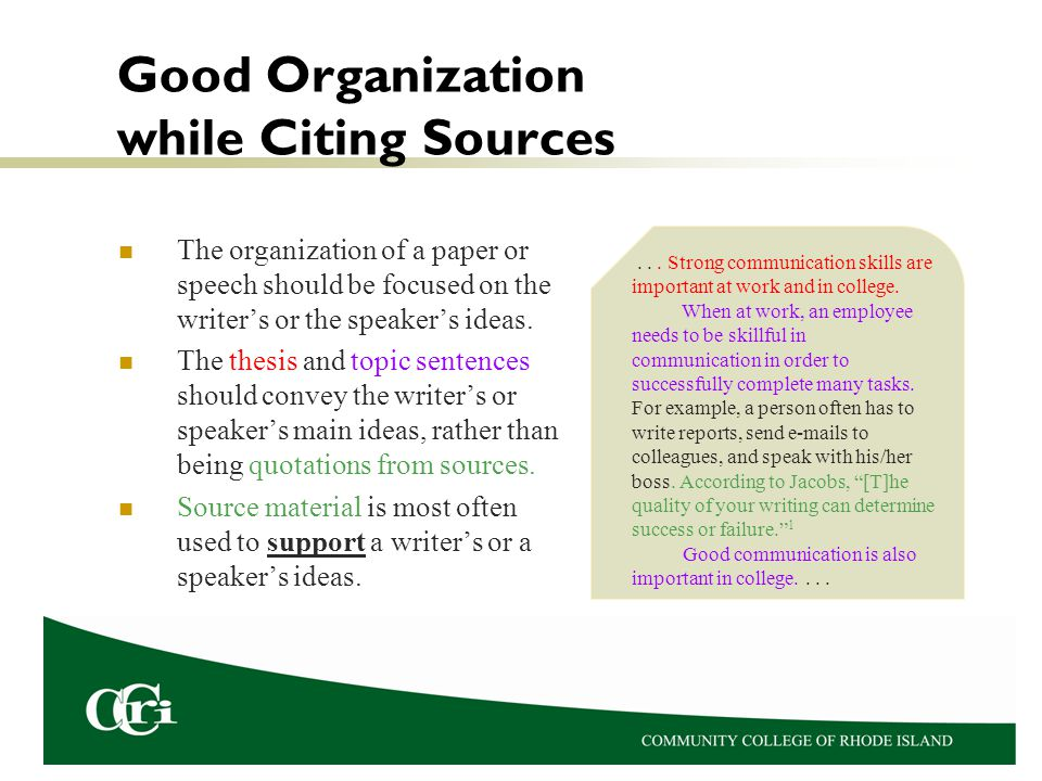 Good Organization while Citing Sources