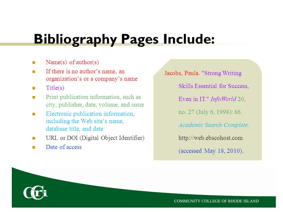 Bibliography Pages Include:
