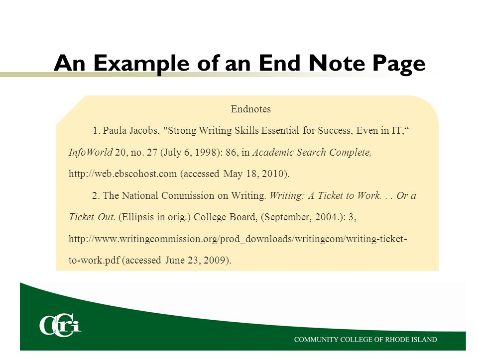 An Example of an End Note Page
