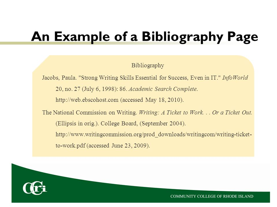 An Example of a Bibliography Page