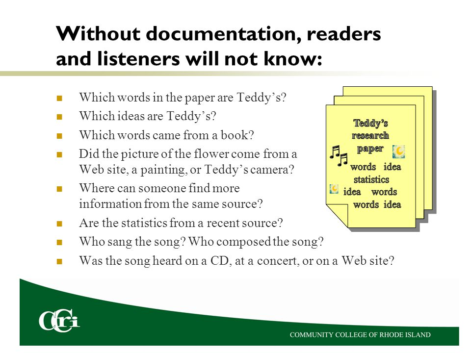 Without documentation, readers and listeners will not know: