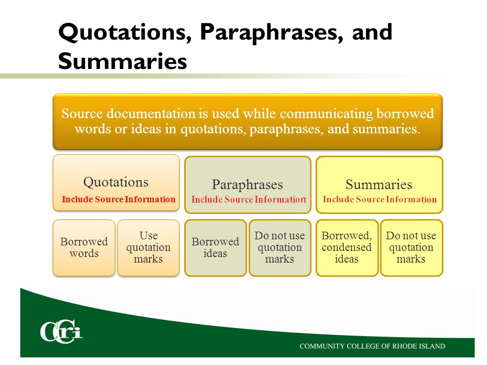 Quotations, Paraphrases, and Summaries