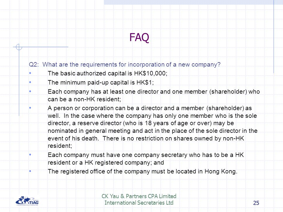 CK Yau & Partners CPA Limited International Secretaries Ltd