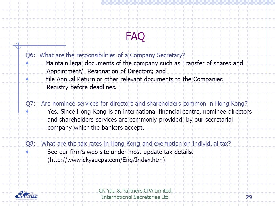 CK Yau & Partners CPA Limited International Secretaries Ltd
