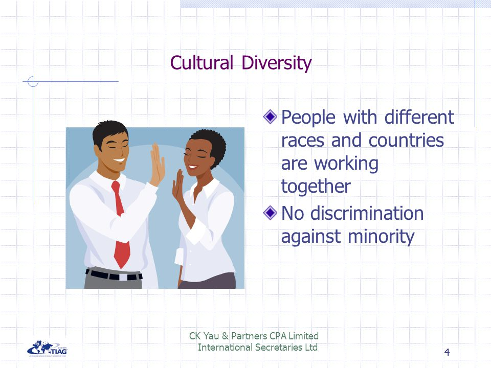 Cultural Diversity People with different races and countries are working together. No discrimination against minority.