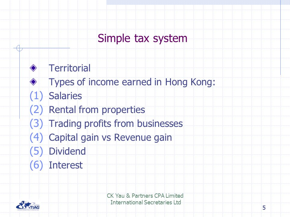 Simple tax system Territorial Types of income earned in Hong Kong: