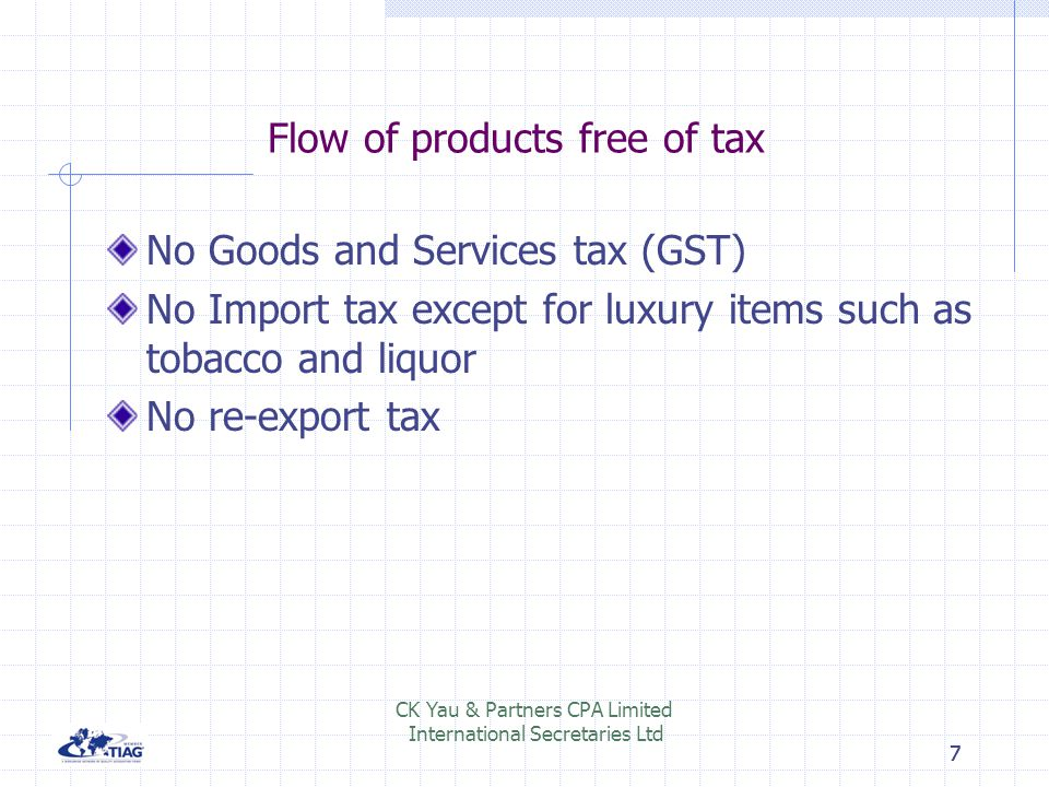 Flow of products free of tax