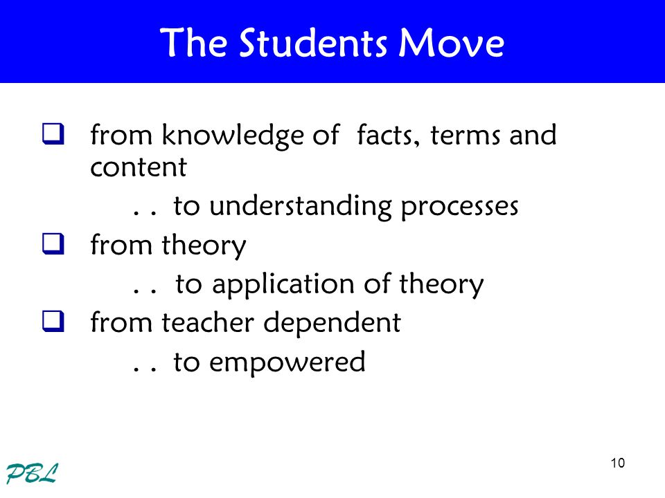 The Students Move from knowledge of facts, terms and content
