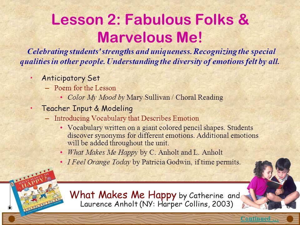 Lesson 2: Fabulous Folks & Marvelous Me