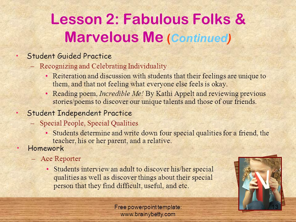 Lesson 2: Fabulous Folks & Marvelous Me (Continued)