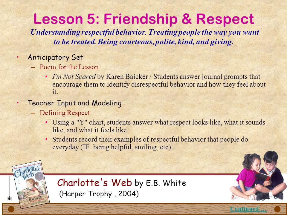 Lesson 5: Friendship & Respect Understanding respectful behavior