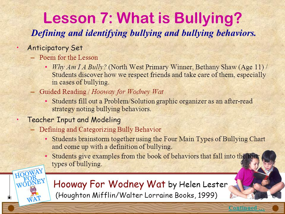 Lesson 7: What is Bullying