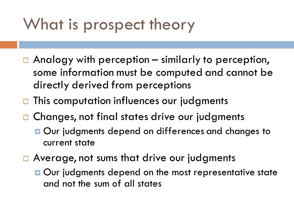 What is prospect theory