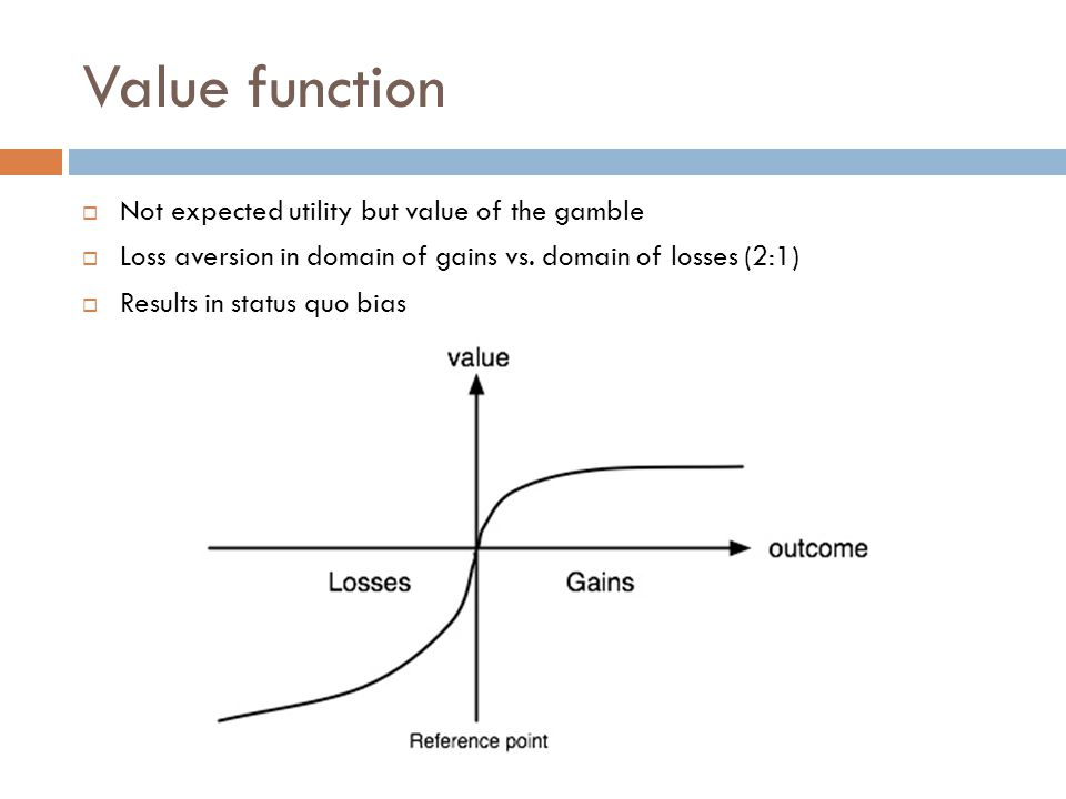Value function Not expected utility but value of the gamble