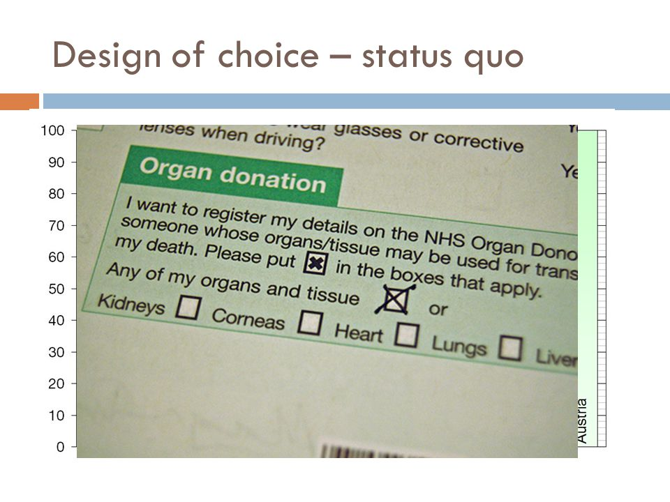 Design of choice – status quo