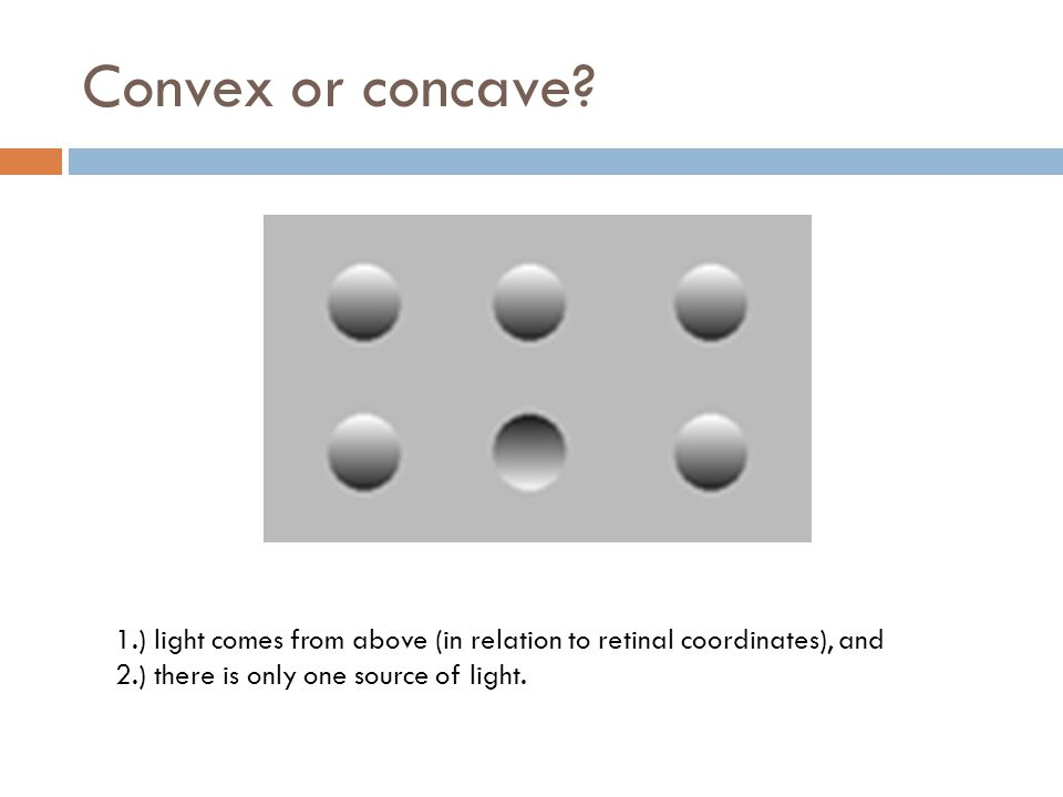 Convex or concave. 1.) light comes from above (in relation to retinal coordinates), and.