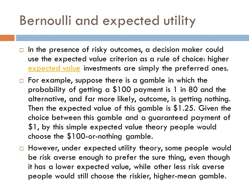 Bernoulli and expected utility