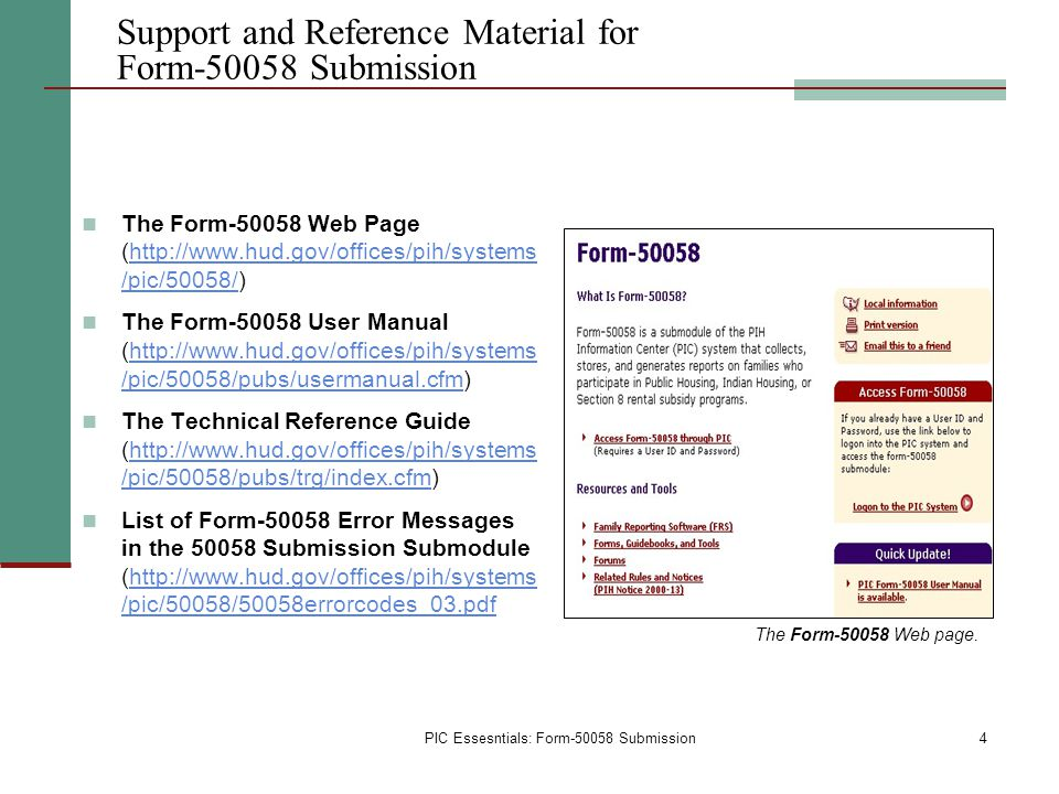 Support and Reference Material for Form-50058 Submission