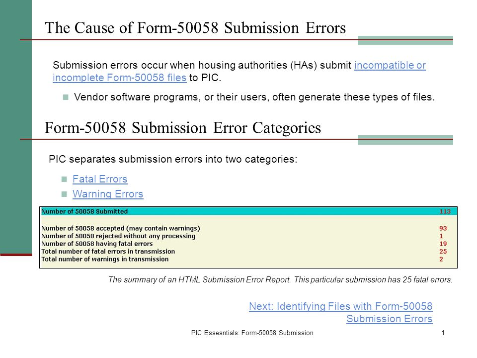 The Cause of Form-50058 Submission Errors