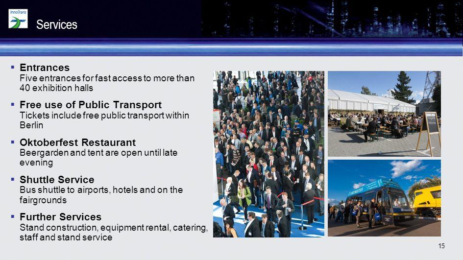 Services Entrances Five entrances for fast access to more than 40 exhibition halls.