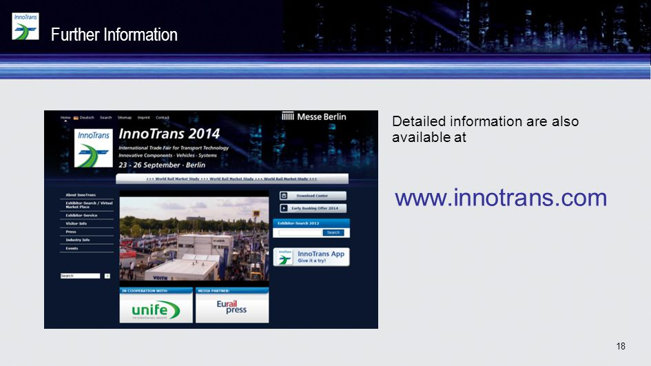 www.innotrans.com Further Information