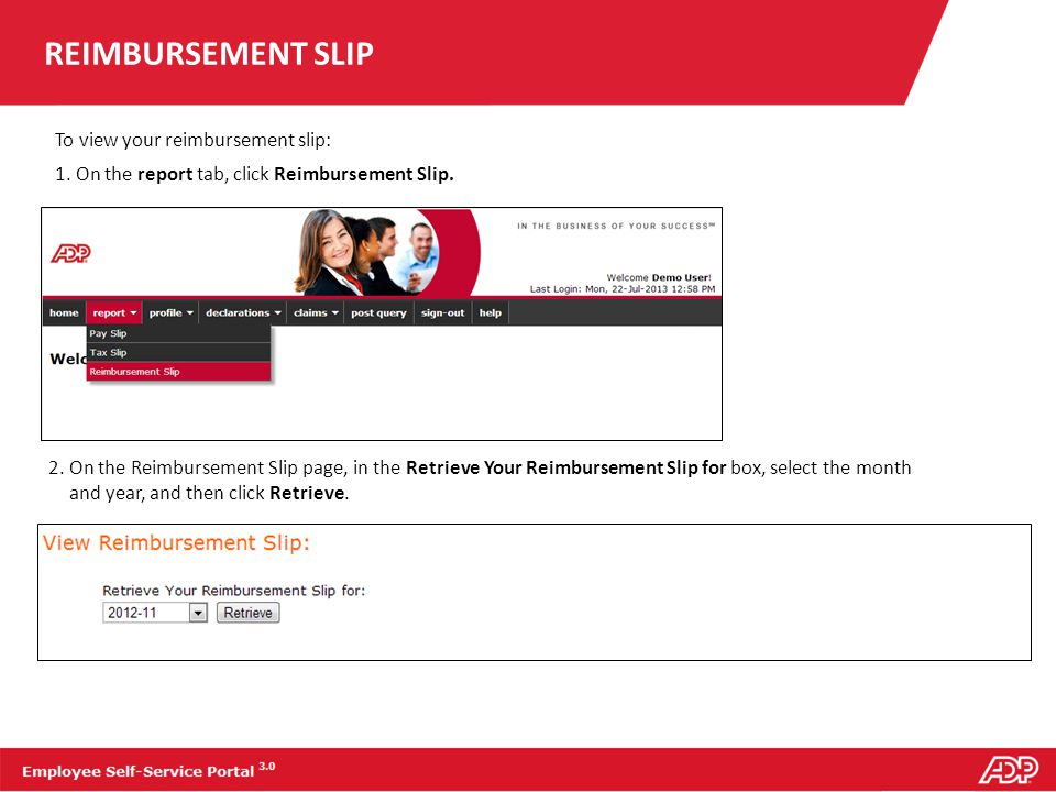 REIMBURSEMENT SLIP To view your reimbursement slip: