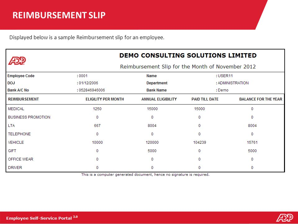 REIMBURSEMENT SLIP Displayed below is a sample Reimbursement slip for an employee.