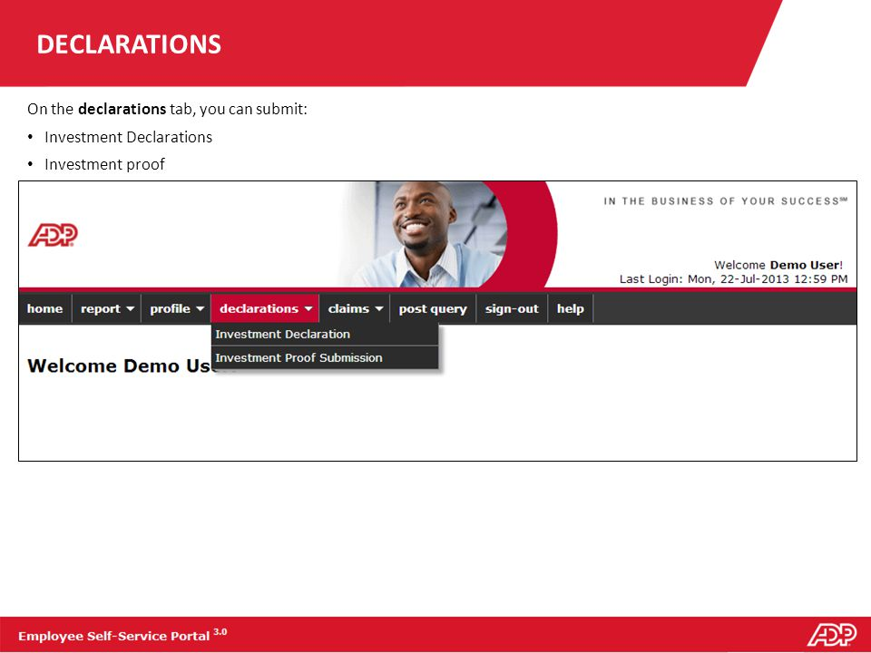 DECLARATIONS On the declarations tab, you can submit: