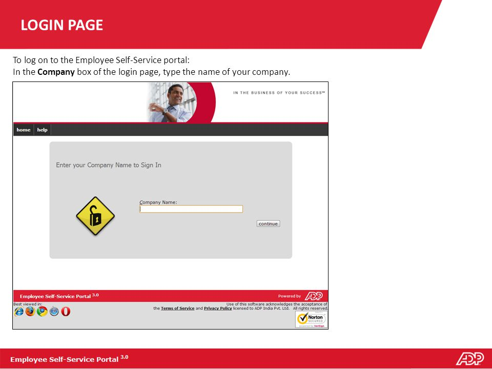 LOGIN PAGE To log on to the Employee Self-Service portal: