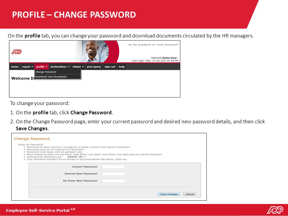 PROFILE – CHANGE PASSWORD