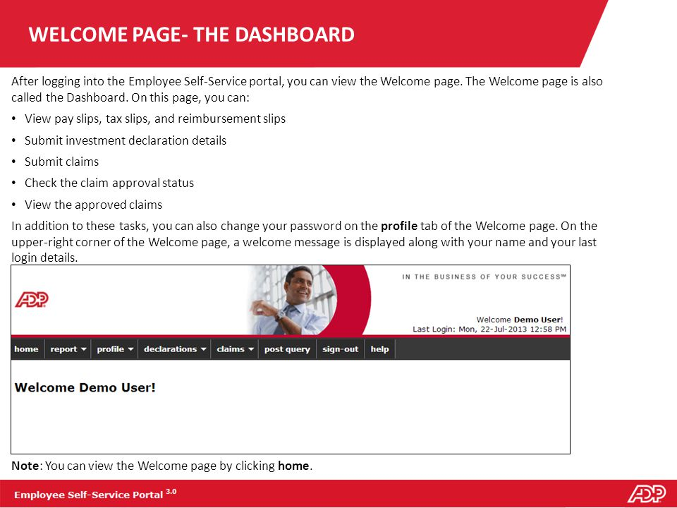 WELCOME PAGE- THE DASHBOARD