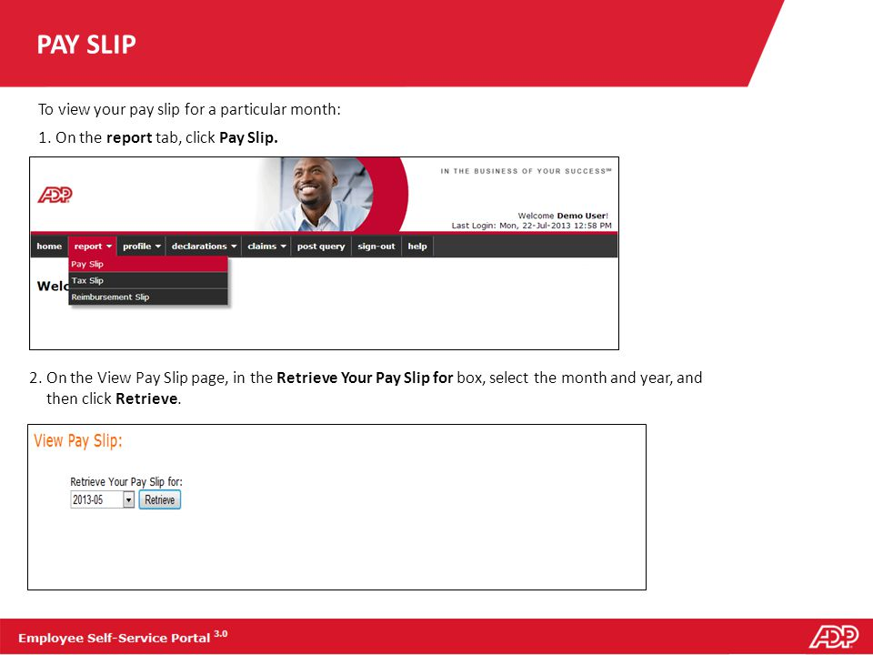 PAY SLIP To view your pay slip for a particular month: