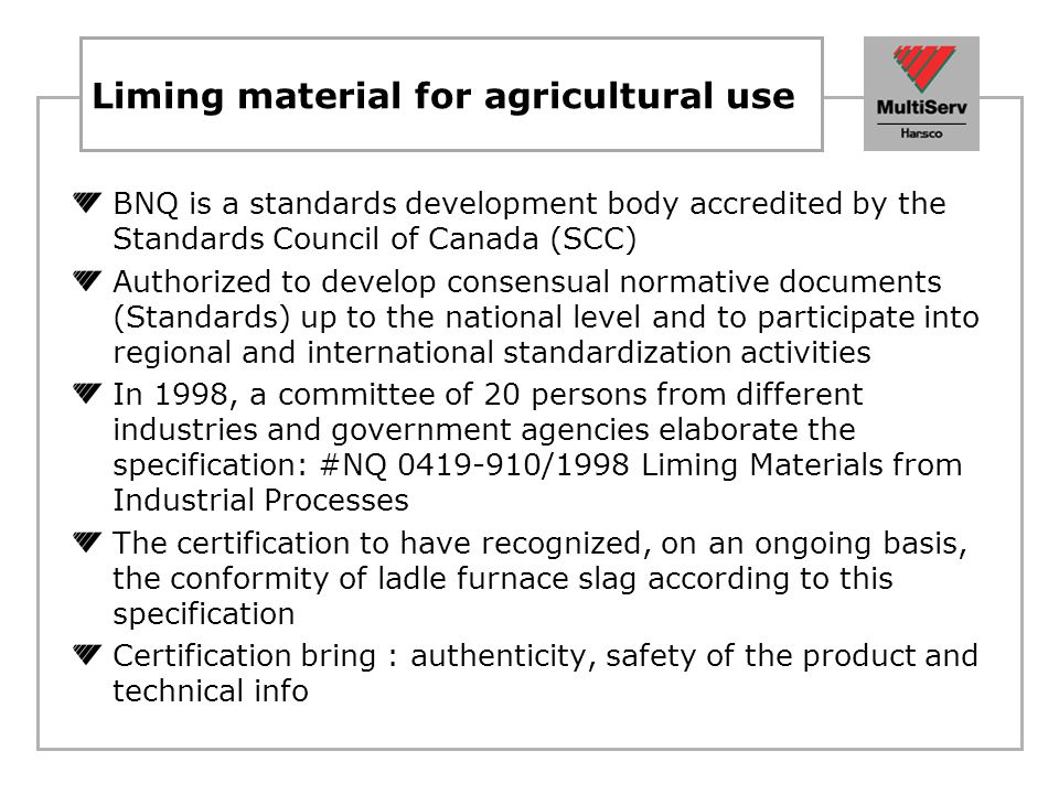 Liming material for agricultural use