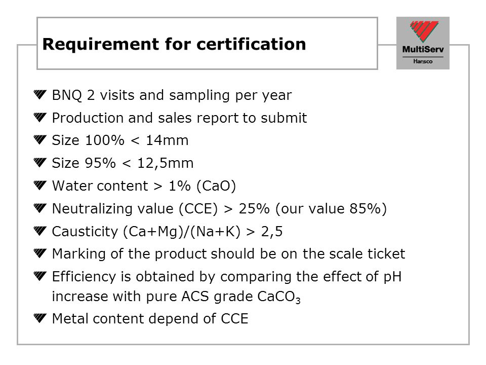 Requirement for certification