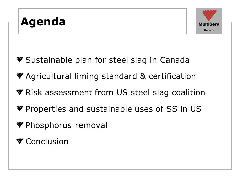 Agenda Sustainable plan for steel slag in Canada