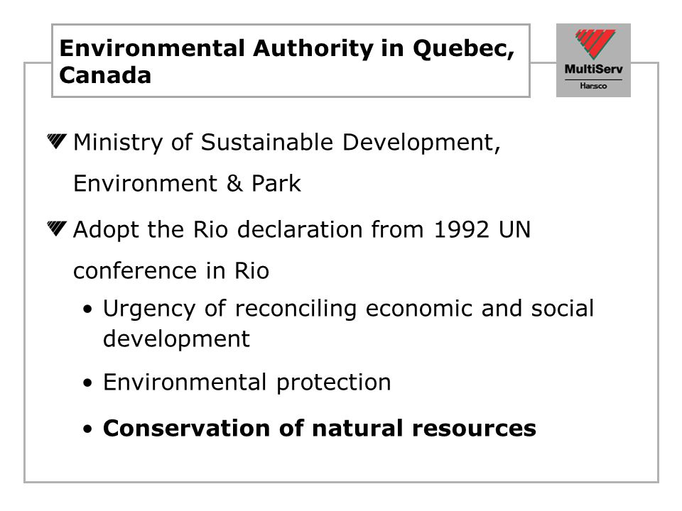 Environmental Authority in Quebec, Canada