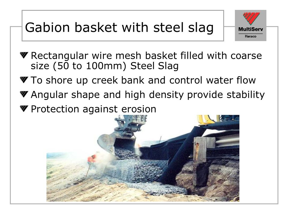 Gabion basket with steel slag