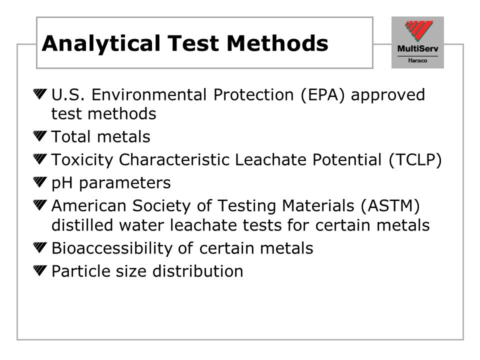 Analytical Test Methods