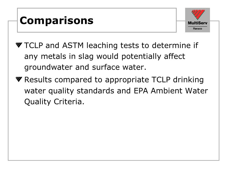 Comparisons TCLP and ASTM leaching tests to determine if any metals in slag would potentially affect groundwater and surface water.